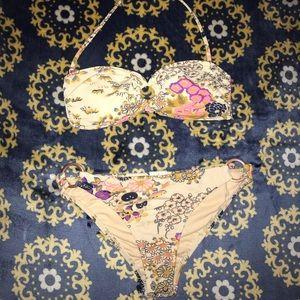 Floral Beige Bikini Set